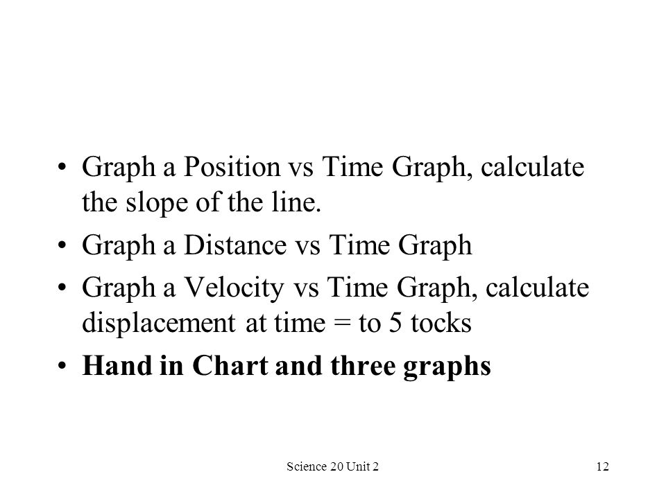 Science 20 Unit 212 Graph a Position vs Time Graph, calculate the slope of the line. Graph a Distance vs Time Graph Graph a Velocity vs Time Graph, ca