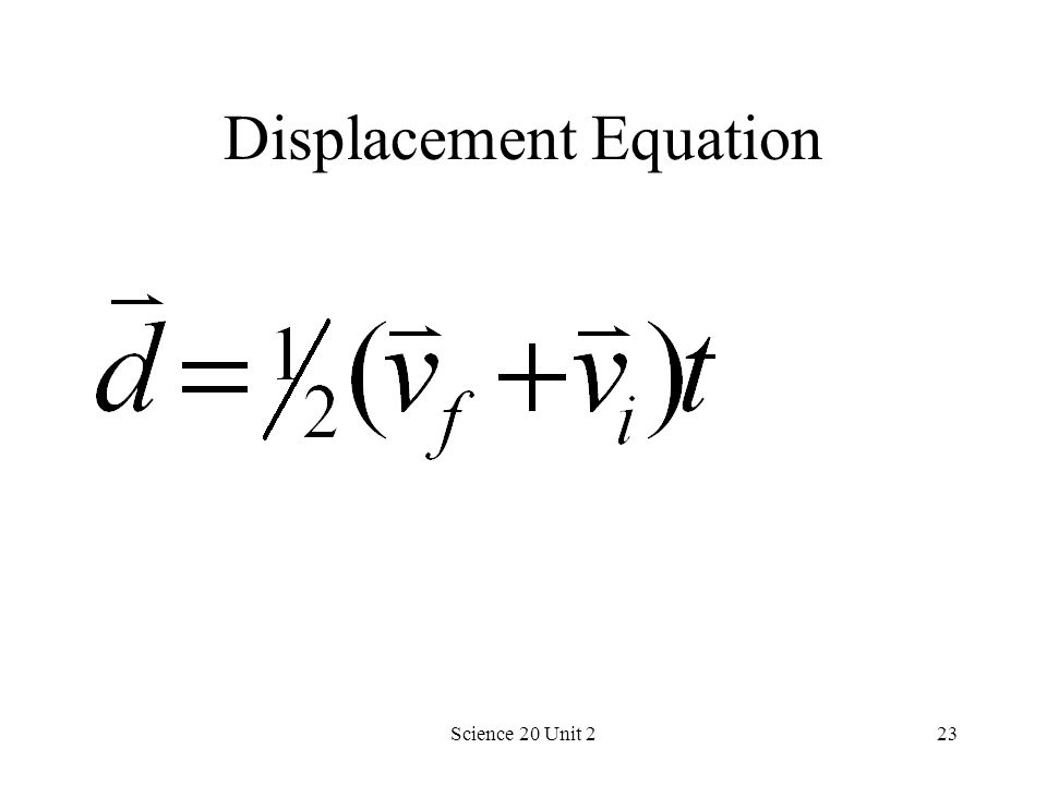Science 20 Unit 223 Displacement Equation