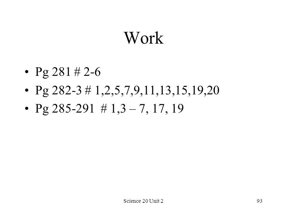 Science 20 Unit 293 Work Pg 281 # 2-6 Pg 282-3 # 1,2,5,7,9,11,13,15,19,20 Pg 285-291 # 1,3 – 7, 17, 19