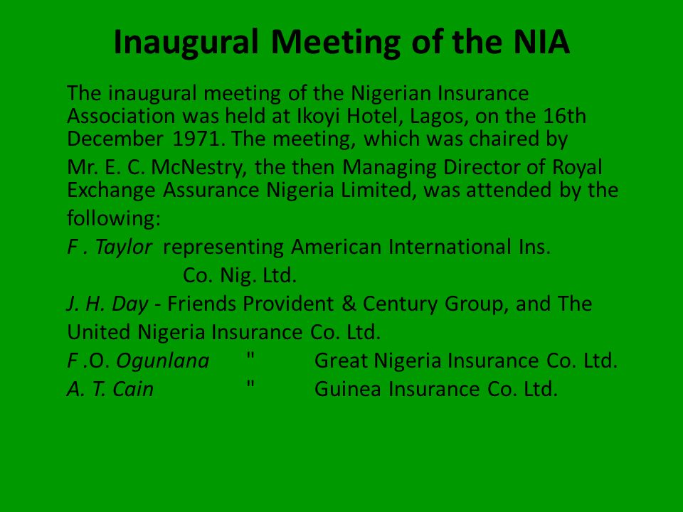 Establishment of NICON The establishment of the National Insurance Corporation of Nigeria (now NICON Insurance PLC) in 1969 as a wholly-owned Federal