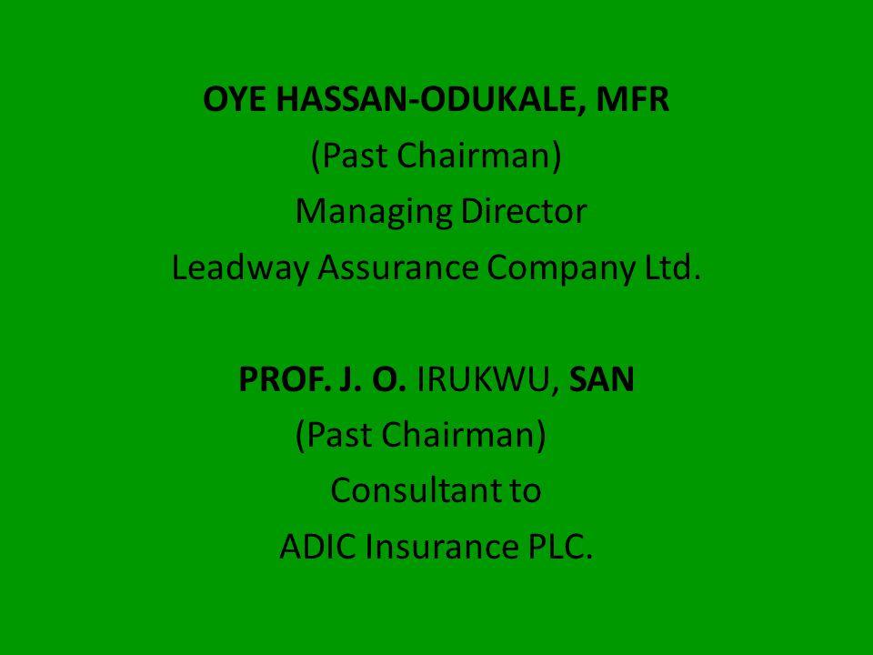 NIA GOVERNING COUNCIL I. A. BALOGUN mni Chairman Managing Director Equity Assurance Plc WOLE B. OSHIN, ESQ. Vice Chairman Managing Director Custodian