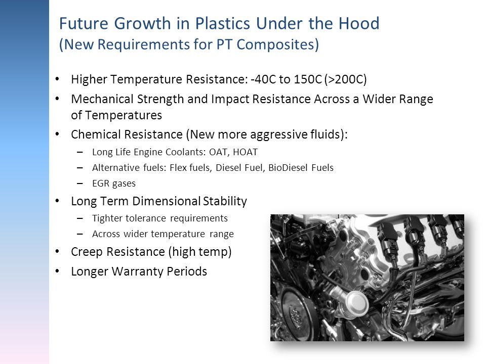 Future Growth in Plastics Under the Hood (New Requirements for PT Composites) Higher Temperature Resistance: -40C to 150C (>200C) Mechanical Strength