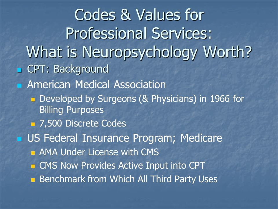 Codes & Values for Professional Services: What is Neuropsychology Worth.