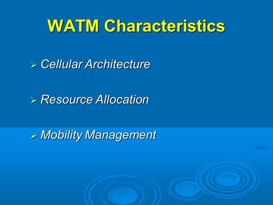 WATM Characteristics Cellular Architecture Cellular Architecture Resource Allocation Resource Allocation Mobility Management Mobility Management