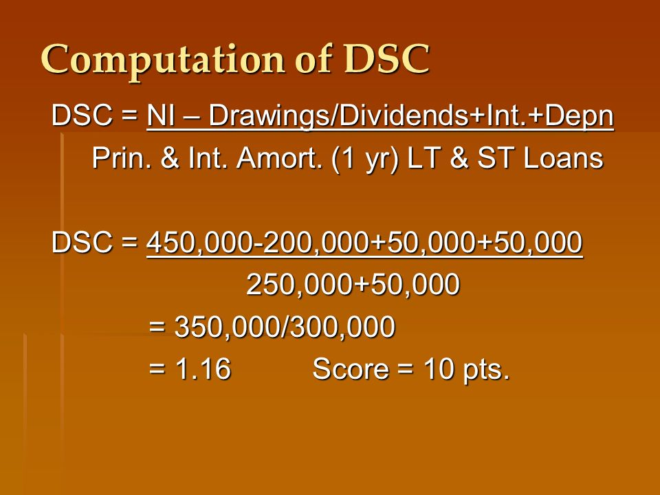 Computation of DSC DSC = NI – Drawings/Dividends+Int.+Depn Prin.