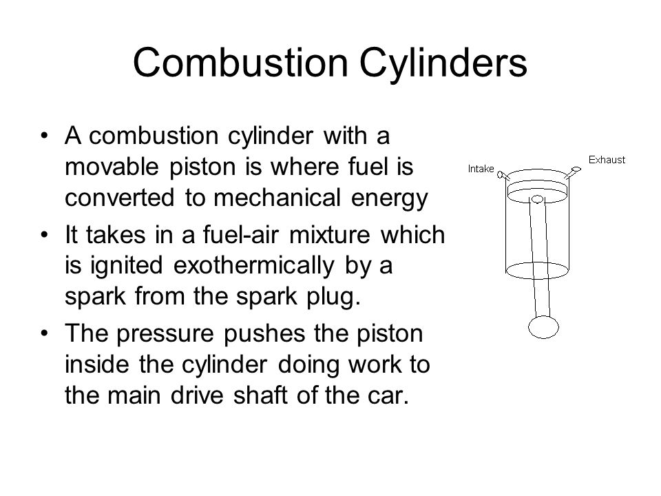 Combustion Cylinders A combustion cylinder with a movable piston is where fuel is converted to mechanical energy It takes in a fuel-air mixture which