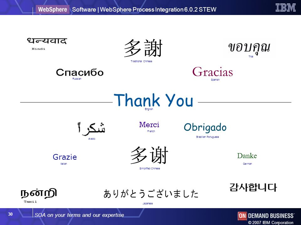 SOA on your terms and our expertise Software | WebSphere Process Integration 6.0.2 STEW © 2007 IBM Corporation 30 Thank You Merci Grazie Gracias Obrigado Danke Japanese English French Russian GermanItalian Spanish Brazilian Portuguese Arabic Traditional Chinese Simplified Chinese Thai