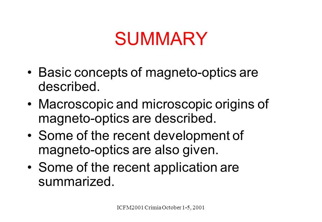 ICFM2001 Crimia October 1-5, 2001 SUMMARY Basic concepts of magneto-optics are described. Macroscopic and microscopic origins of magneto-optics are de