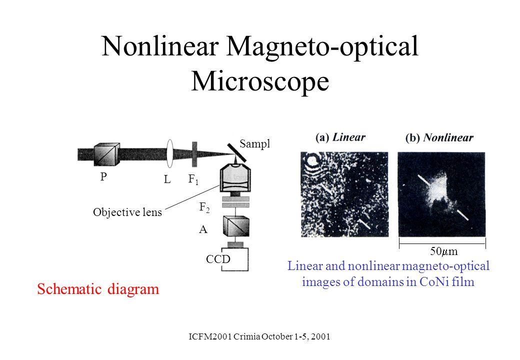 ICFM2001 Crimia October 1-5, 2001 Nonlinear Magneto-optical Microscope Schematic diagram L P F1F1 Objective lens Sample F2F2 A CCD Linear and nonlinea