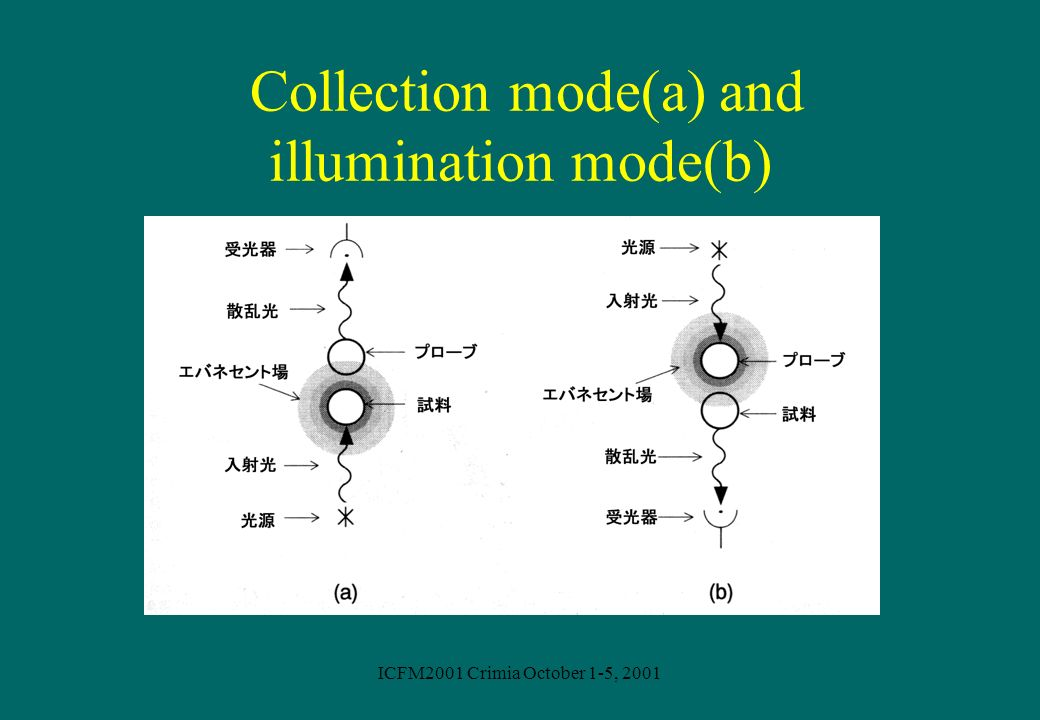 ICFM2001 Crimia October 1-5, 2001 Collection mode(a) and illumination mode(b)