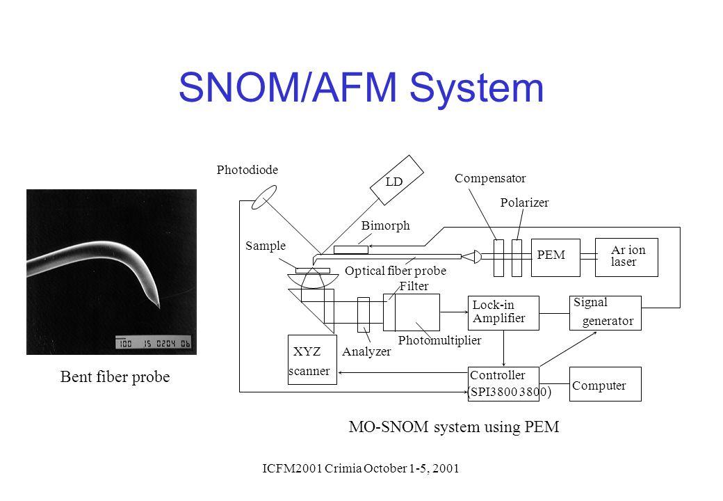 ICFM2001 Crimia October 1-5, 2001 SNOM/AFM System Bent fiber probe Controller ( SPI3800 3800 ) PEM Ar ion laser Signal generator Lock-in Amplifier Com