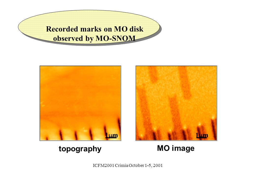 ICFM2001 Crimia October 1-5, 2001 topography MO image Recorded marks on MO disk observed by MO-SNOM