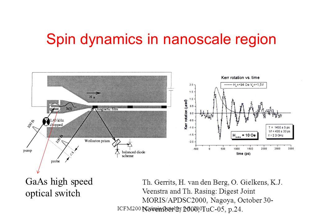 ICFM2001 Crimia October 1-5, 2001 Spin dynamics in nanoscale region Th. Gerrits, H. van den Berg, O. Gielkens, K.J. Veenstra and Th. Rasing: Digest Jo