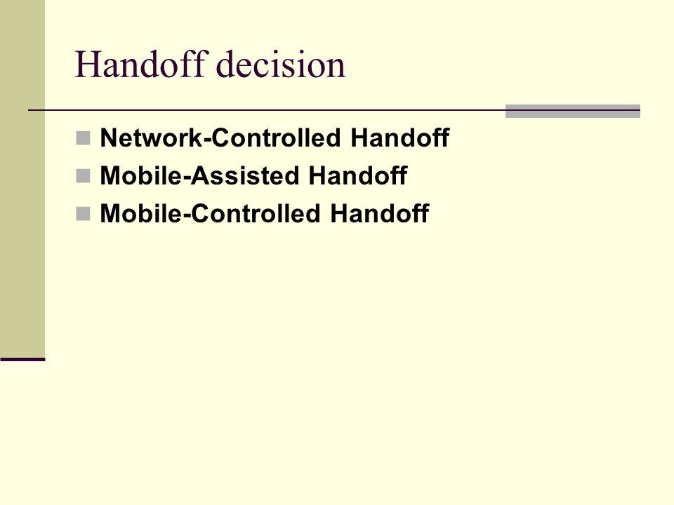 Handoff decision Network-Controlled Handoff Mobile-Assisted Handoff Mobile-Controlled Handoff