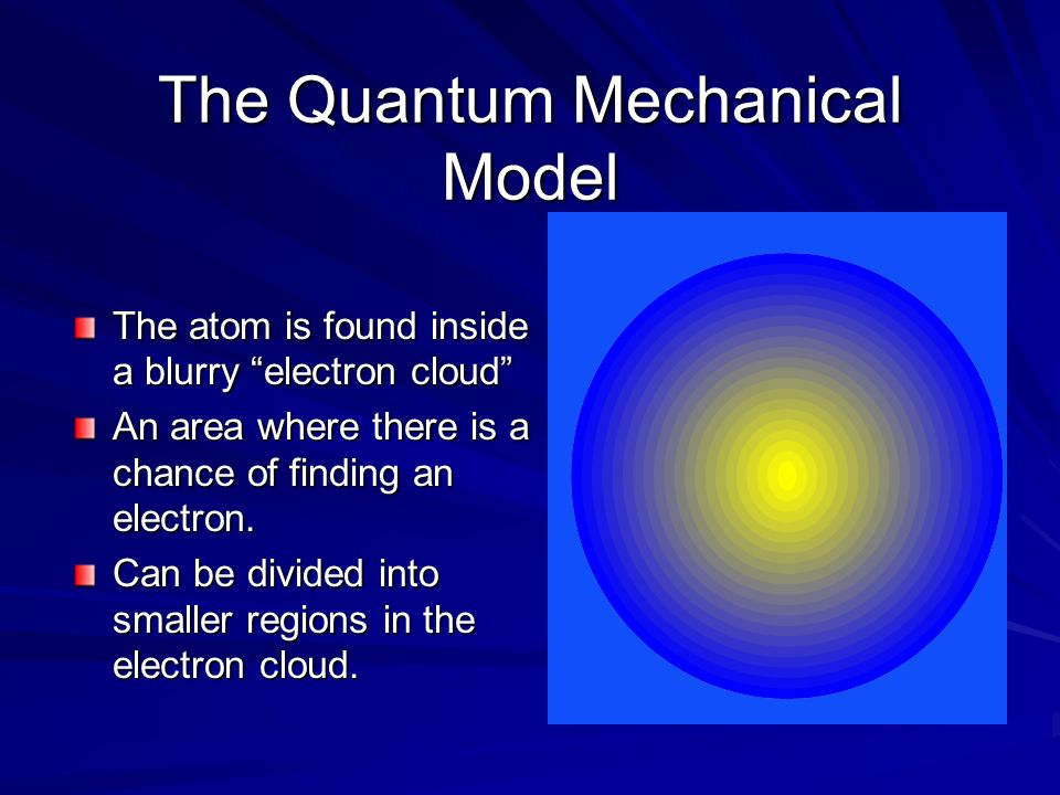 The atom is found inside a blurry electron cloud An area where there is a chance of finding an electron. Can be divided into smaller regions in the el
