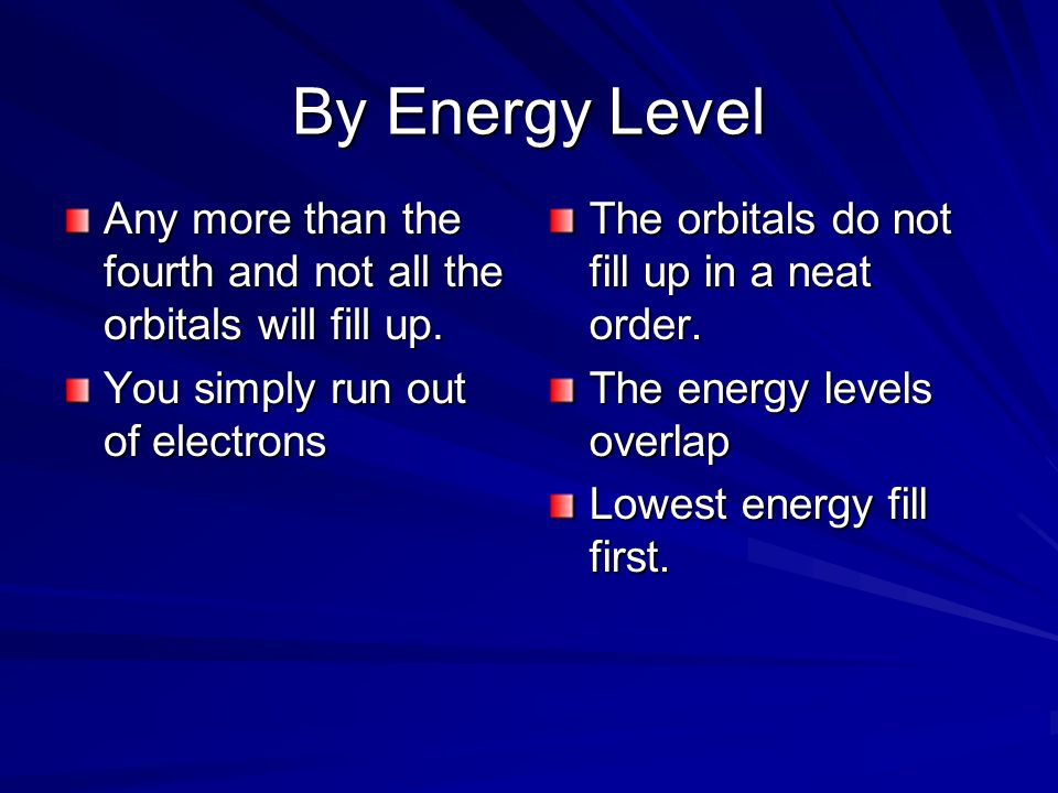 By Energy Level Any more than the fourth and not all the orbitals will fill up. You simply run out of electrons The orbitals do not fill up in a neat