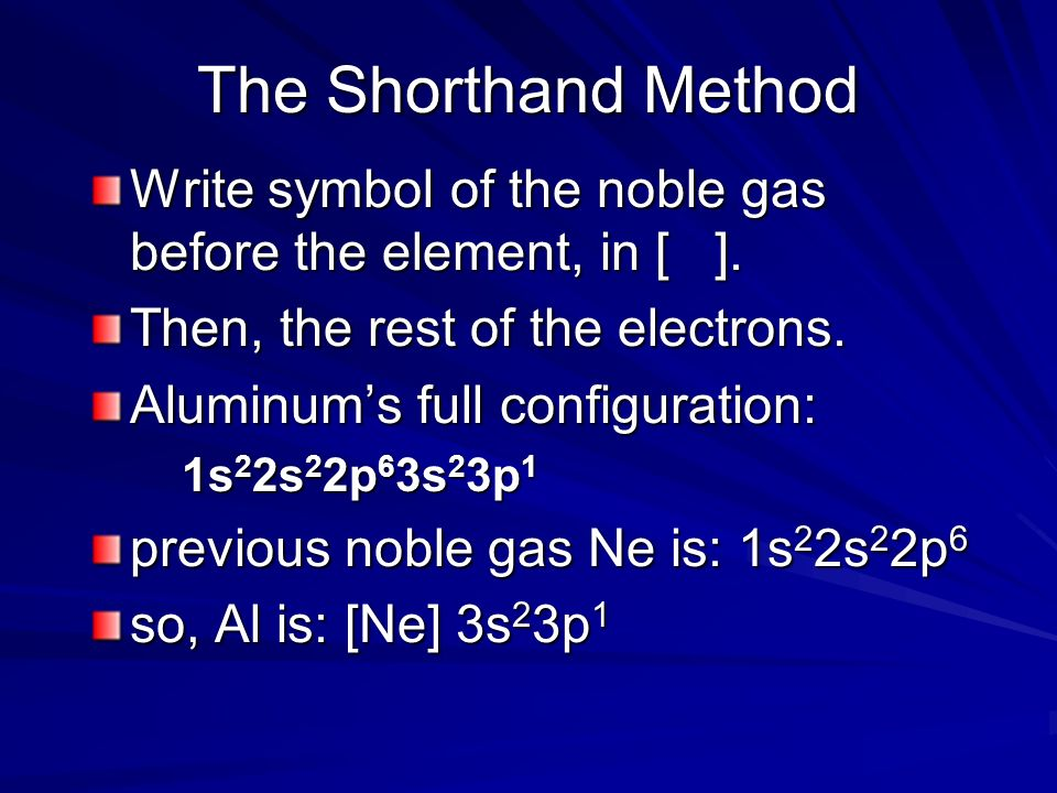 The Shorthand Method Write symbol of the noble gas before the element, in [ ]. Then, the rest of the electrons. Aluminums full configuration: 1s 2 2s