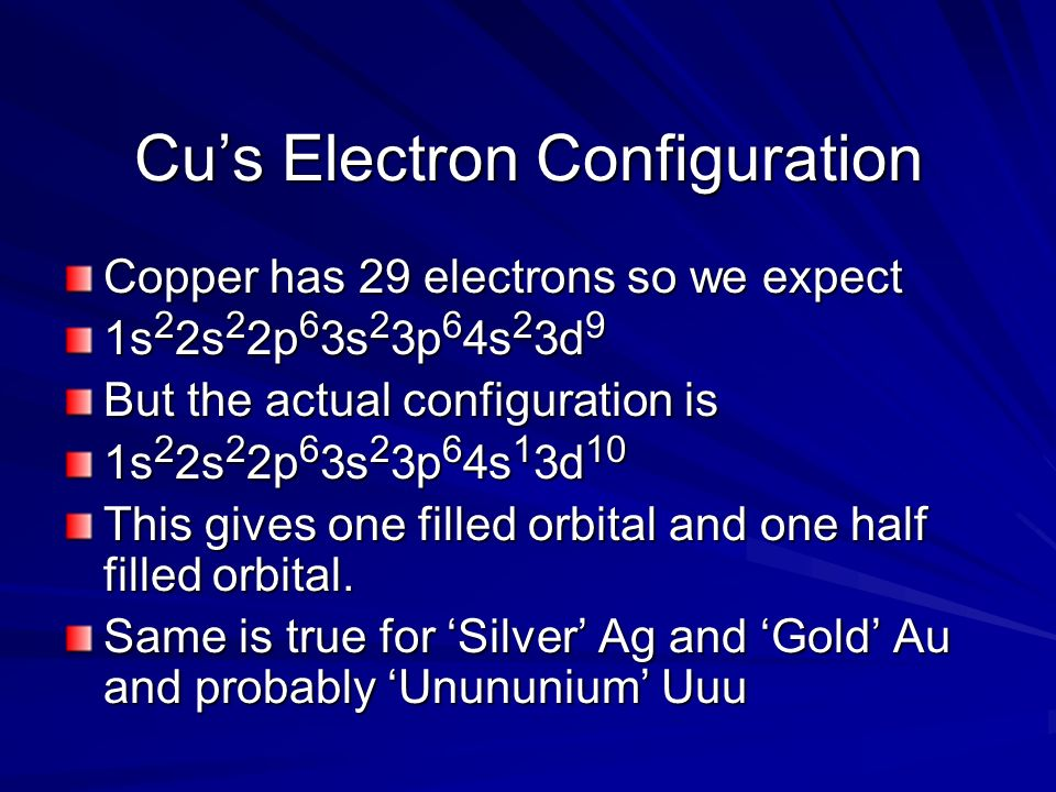 Cus Electron Configuration Copper has 29 electrons so we expect 1s 2 2s 2 2p 6 3s 2 3p 6 4s 2 3d 9 But the actual configuration is 1s 2 2s 2 2p 6 3s 2