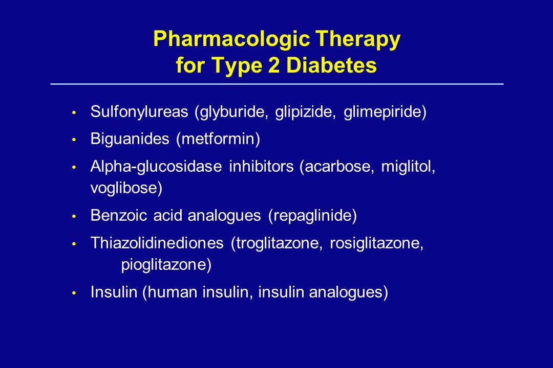 Pharmacologic Therapy for Type 2 Diabetes Sulfonylureas (glyburide, glipizide, glimepiride) Biguanides (metformin) Alpha-glucosidase inhibitors (acarb