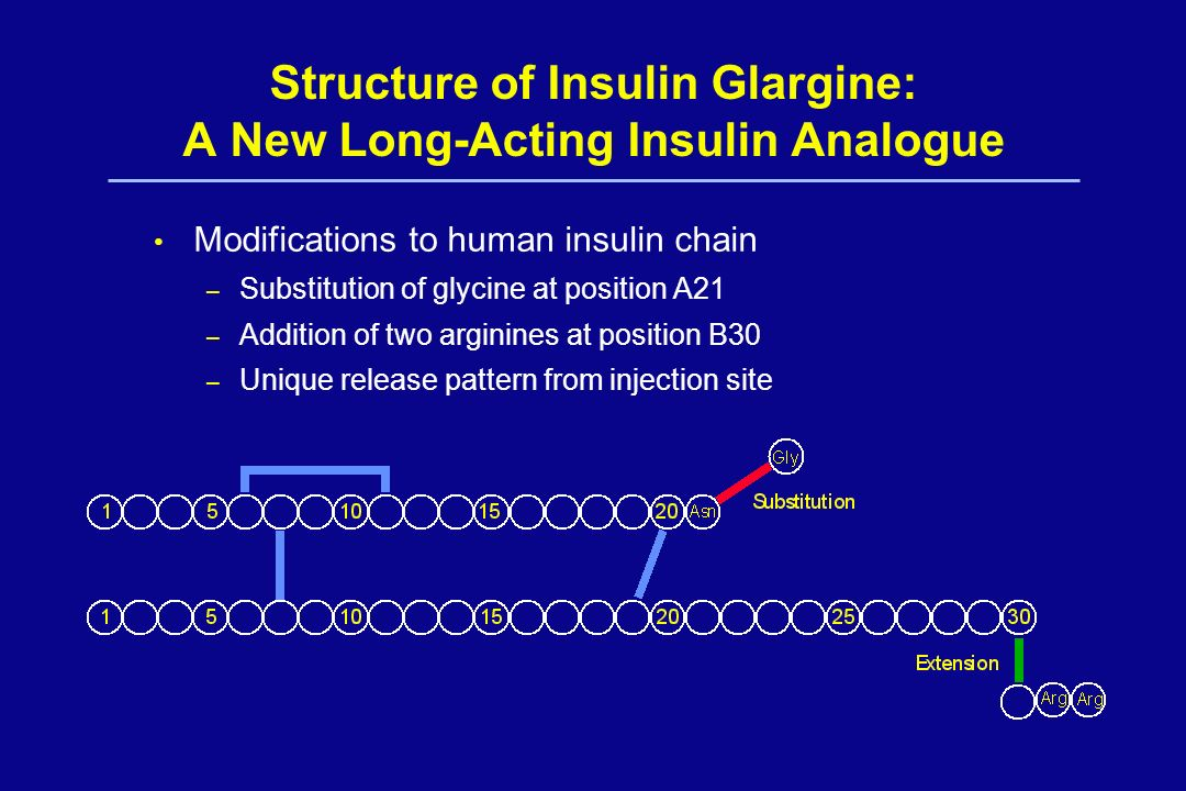 Structure of Insulin Glargine: A New Long-Acting Insulin Analogue Modifications to human insulin chain – Substitution of glycine at position A21 – Add