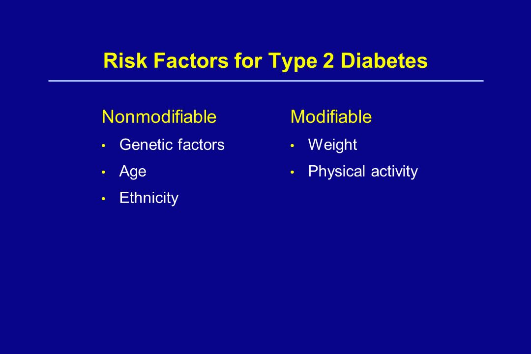 Risk Factors for Type 2 Diabetes Nonmodifiable Genetic factors Age Ethnicity Modifiable Weight Physical activity