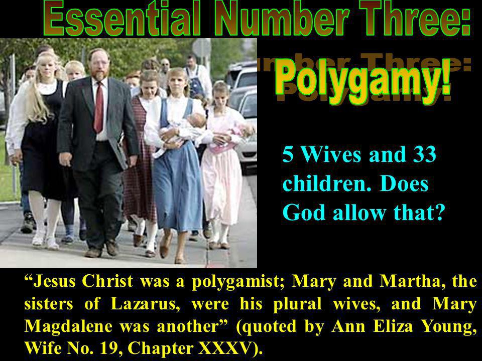 Jesus Christ was a polygamist; Mary and Martha, the sisters of Lazarus, were his plural wives, and Mary Magdalene was another (quoted by Ann Eliza Young, Wife No.