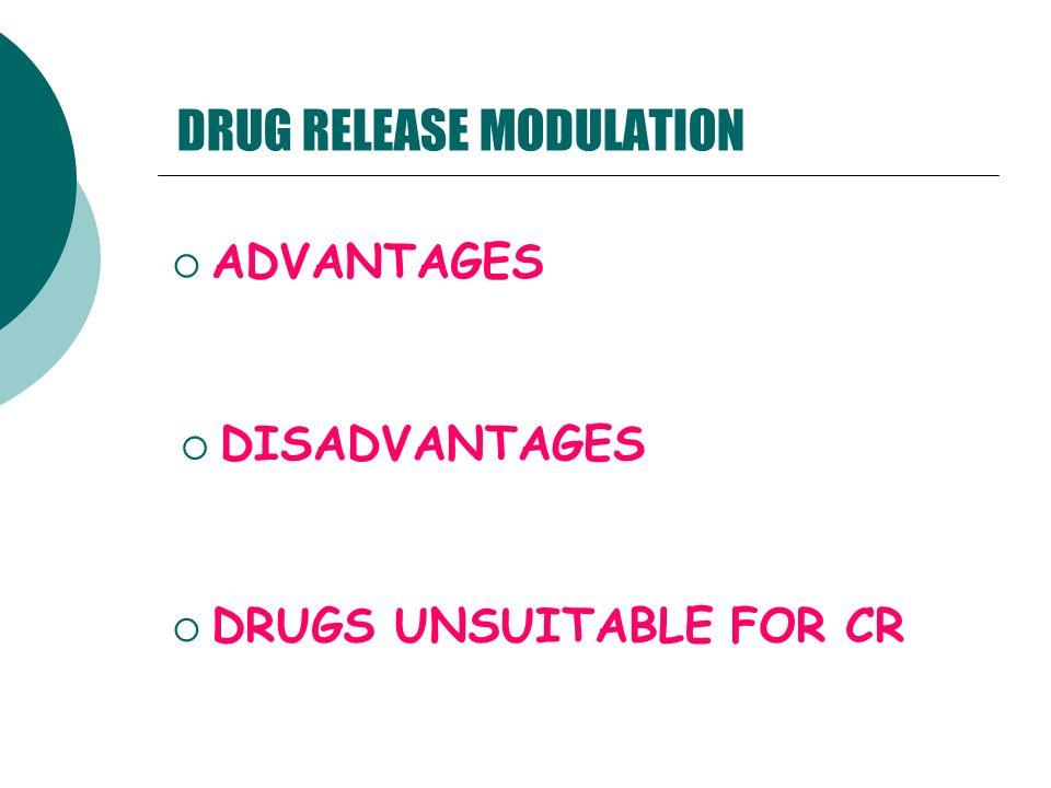 DRUG RELEASE MODULATION ADVANTAGES DISADVANTAGES DRUGS UNSUITABLE FOR CR