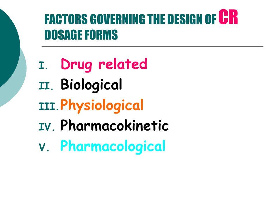 FACTORS GOVERNING THE DESIGN OF CR DOSAGE FORMS I. Drug related II. Biological III. Physiological IV. Pharmacokinetic V. Pharmacological