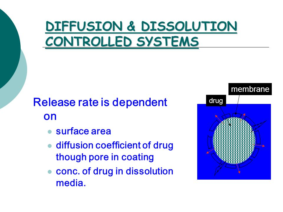 DIFFUSION & DISSOLUTION CONTROLLED SYSTEMS Release rate is dependent on surface area diffusion coefficient of drug though pore in coating conc. of dru