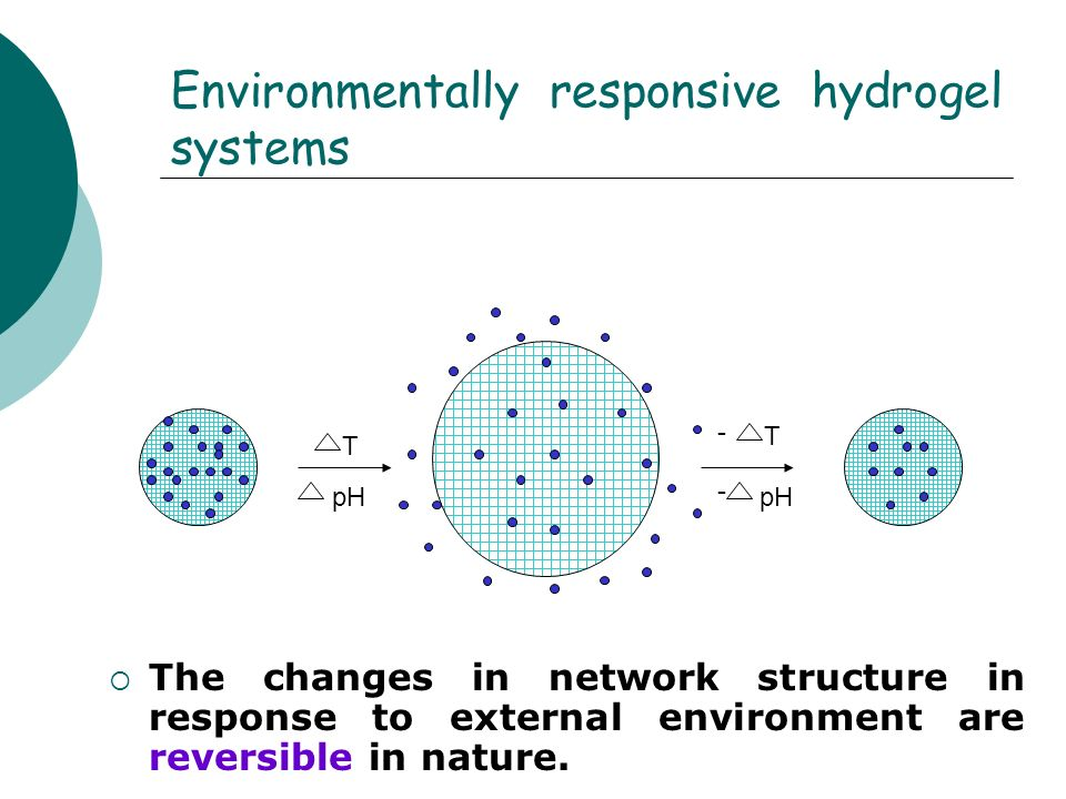 Environmentally responsive hydrogel systems The changes in network structure in response to external environment are reversible in nature. T pH T - -