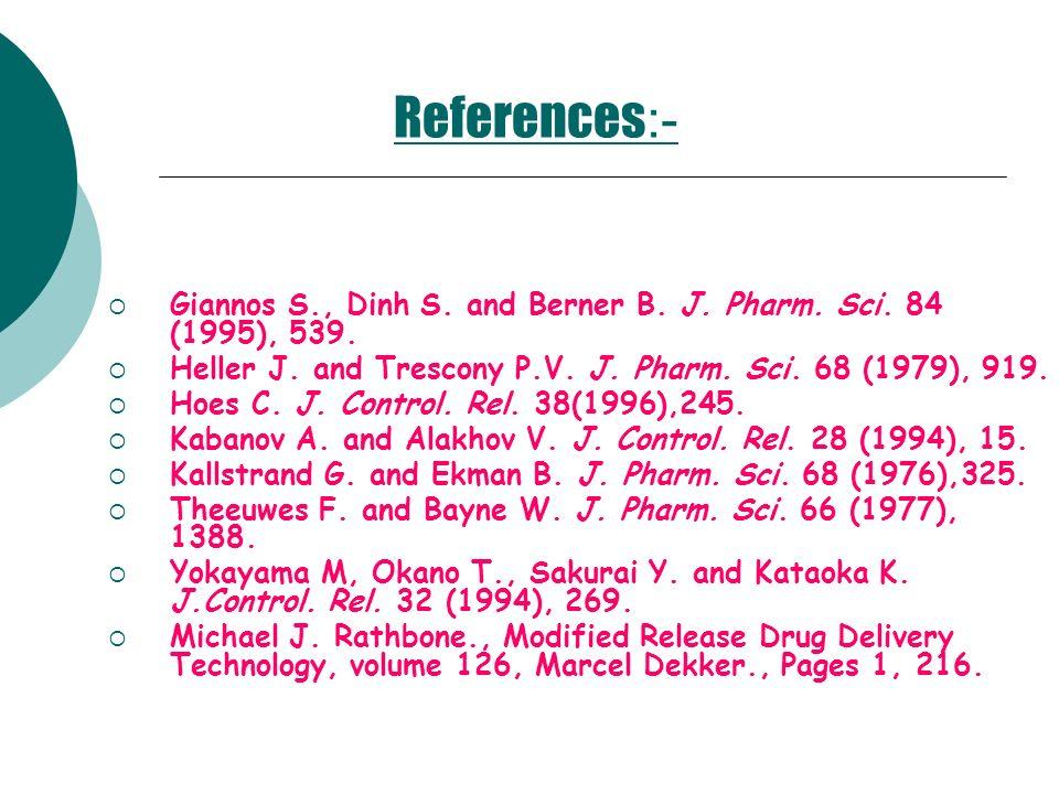 References :- Giannos S., Dinh S. and Berner B. J. Pharm. Sci. 84 (1995), 539. Heller J. and Trescony P.V. J. Pharm. Sci. 68 (1979), 919. Hoes C. J. C