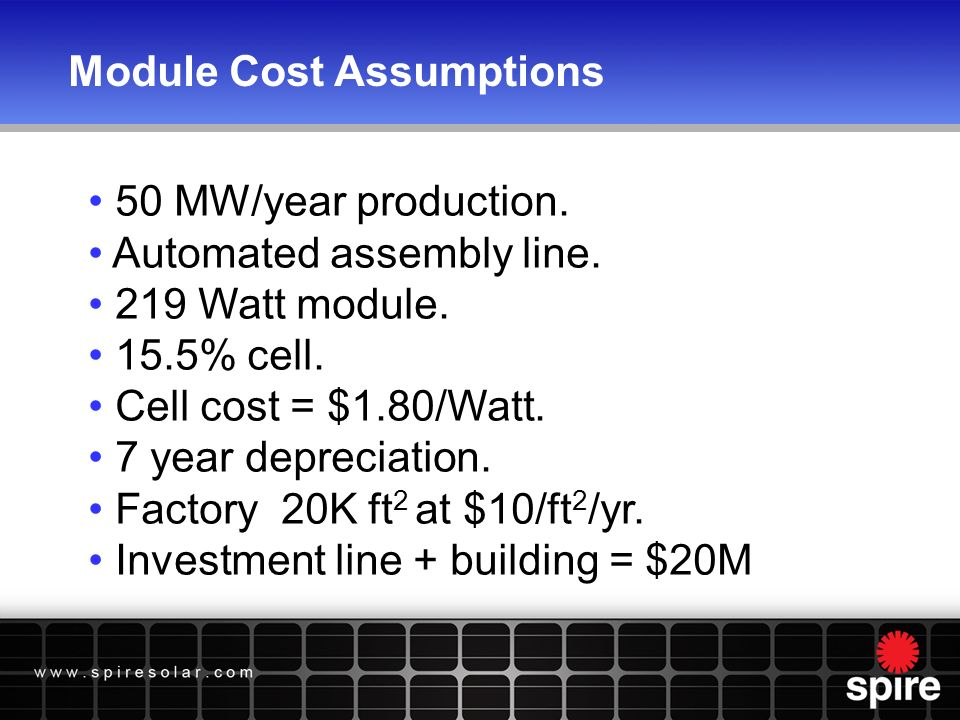 Module Cost Assumptions 50 MW/year production. Automated assembly line.