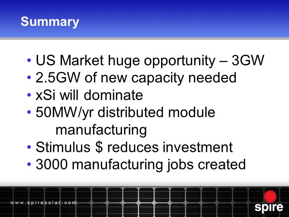 Summary US Market huge opportunity – 3GW 2.5GW of new capacity needed xSi will dominate 50MW/yr distributed module manufacturing Stimulus $ reduces investment 3000 manufacturing jobs created