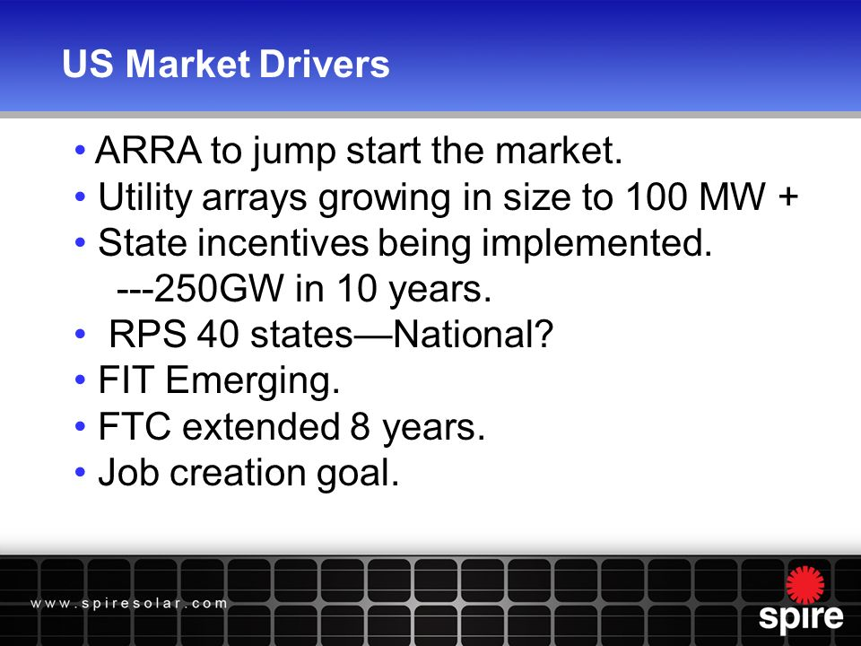 US Market Drivers ARRA to jump start the market.