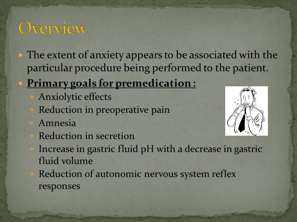 Antiemetic agents are included in anesthetic premedication with the objective decreasing postoperative nausea and vomiting incidence.