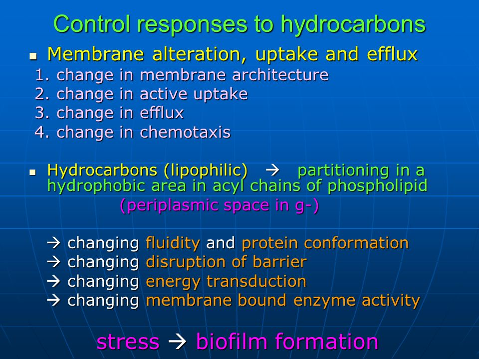Control responses to hydrocarbons Membrane alteration, uptake and efflux Membrane alteration, uptake and efflux 1. change in membrane architecture 1.