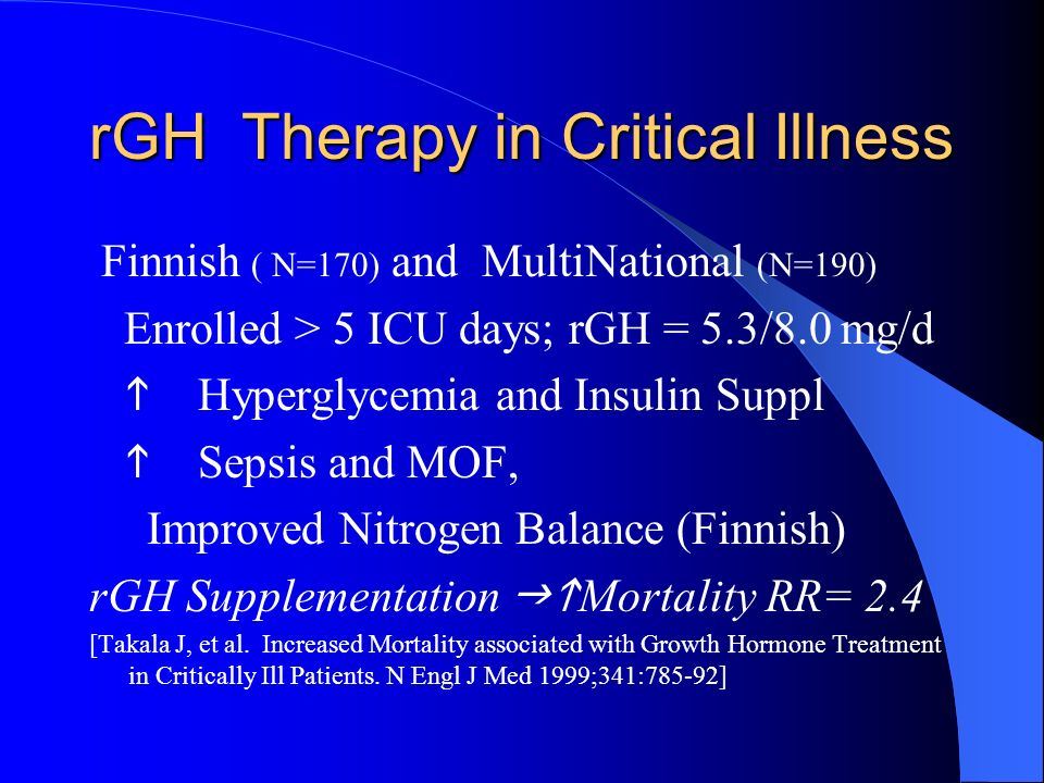rGH Therapy in Critical Illness Finnish ( N=170) and MultiNational (N=190) Enrolled > 5 ICU days; rGH = 5.3/8.0 mg/d Hyperglycemia and Insulin Suppl S