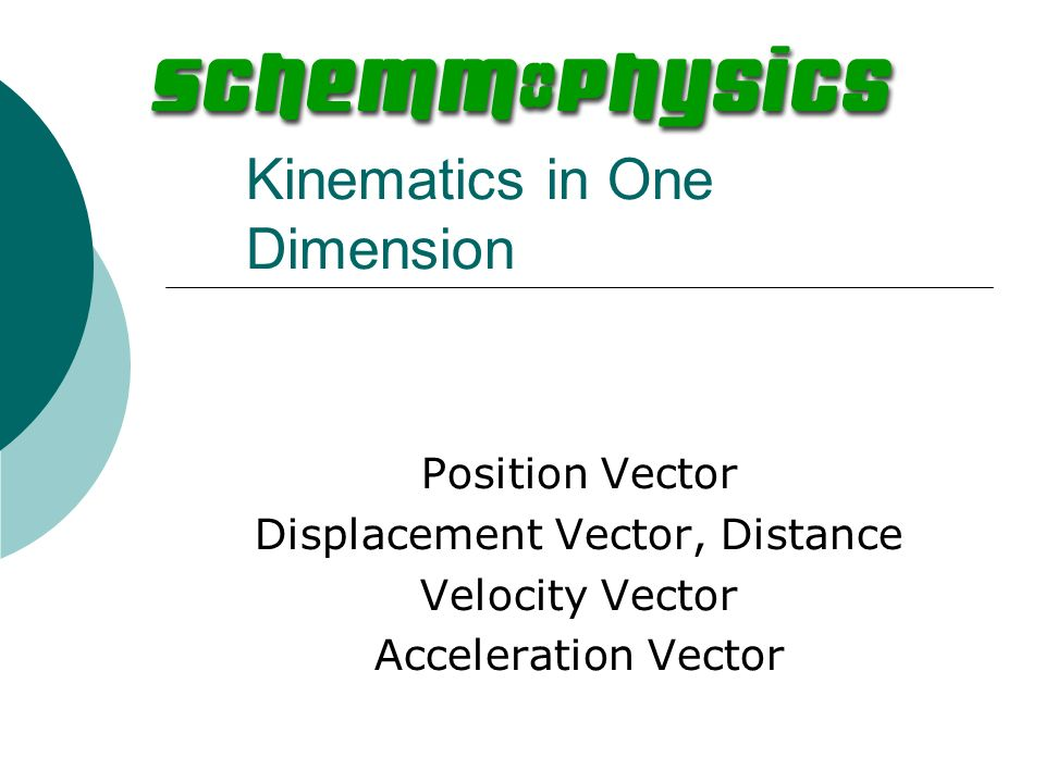 Kinematics in One Dimension Position Vector Displacement Vector, Distance Velocity Vector Acceleration Vector