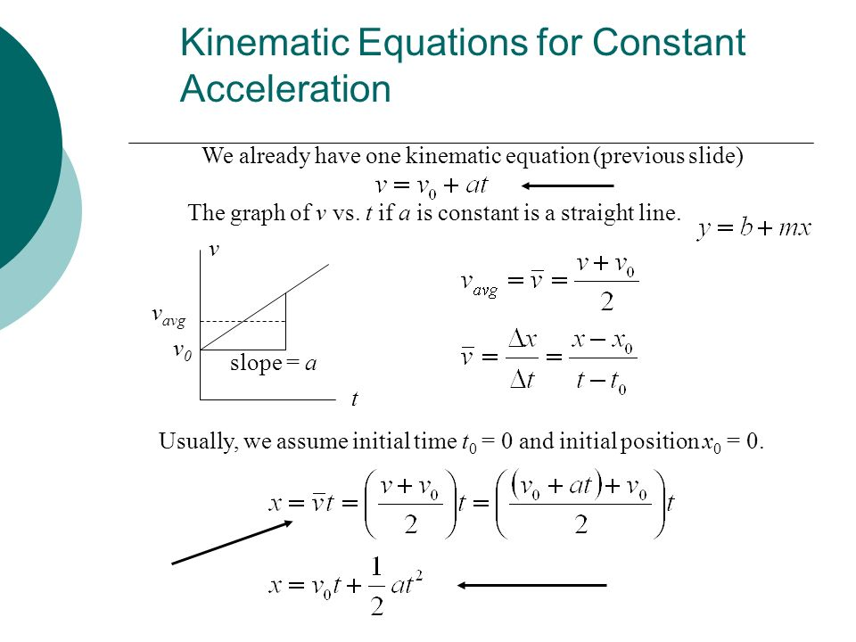 Kinematic Equations for Constant Acceleration We already have one kinematic equation (previous slide) The graph of v vs. t if a is constant is a strai