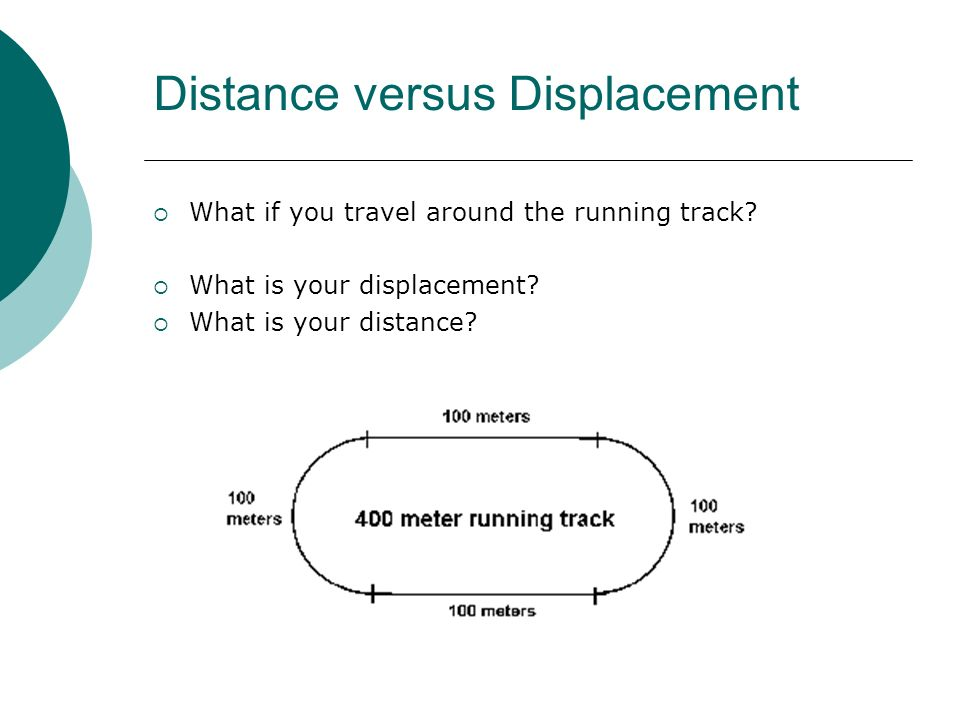 Distance versus Displacement What if you travel around the running track? What is your displacement? What is your distance?