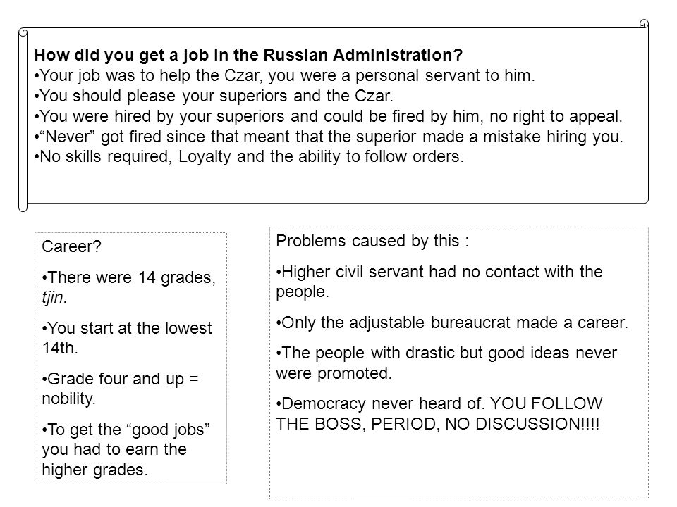 How did you get a job in the Russian Administration.