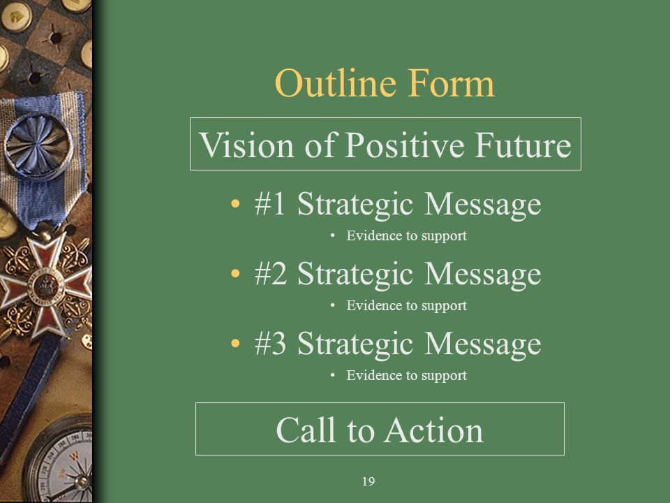 19 Outline Form #1 Strategic Message Evidence to support #2 Strategic Message Evidence to support #3 Strategic Message Evidence to support Vision of Positive Future Call to Action