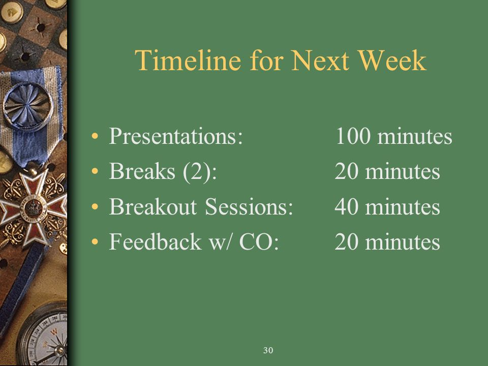 30 Timeline for Next Week Presentations: 100 minutes Breaks (2):20 minutes Breakout Sessions:40 minutes Feedback w/ CO:20 minutes