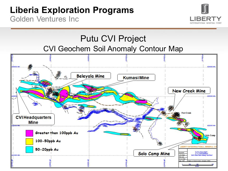 Putu CVI Project CVI Geochem Soil Anomaly Contour Map Liberia Exploration Programs Golden Ventures Inc