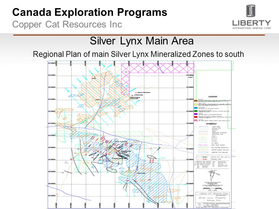 Canada Exploration Programs Copper Cat Resources Inc Silver Lynx Main Area Regional Plan of main Silver Lynx Mineralized Zones to south