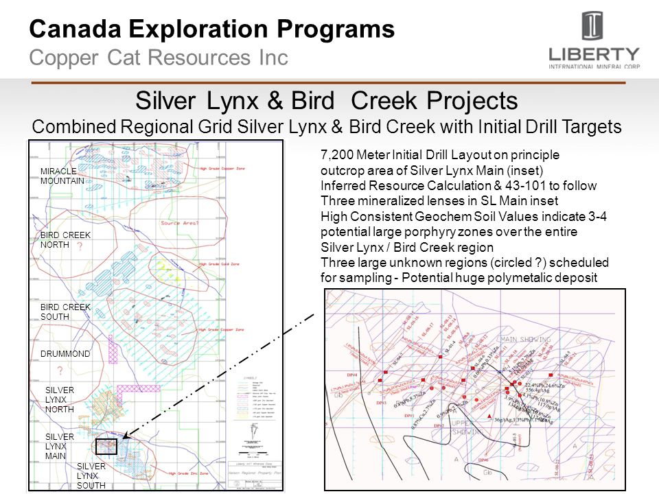 Canada Exploration Programs Copper Cat Resources Inc Silver Lynx & Bird Creek Projects Combined Regional Grid Silver Lynx & Bird Creek with Initial Drill Targets BIRD CREEK MAIN DRUMMO ND SILVER LYNX NORTH SILVER LYNX SOUTH BIRD CREEK NORTH SILVER LYNX MAIN DRUMMOND BIRD CREEK SOUTH MIRACLE MOUNTAIN 7,200 Meter Initial Drill Layout on principle outcrop area of Silver Lynx Main (inset) Inferred Resource Calculation & to follow Three mineralized lenses in SL Main inset High Consistent Geochem Soil Values indicate 3-4 potential large porphyry zones over the entire Silver Lynx / Bird Creek region Three large unknown regions (circled ) scheduled for sampling - Potential huge polymetalic deposit