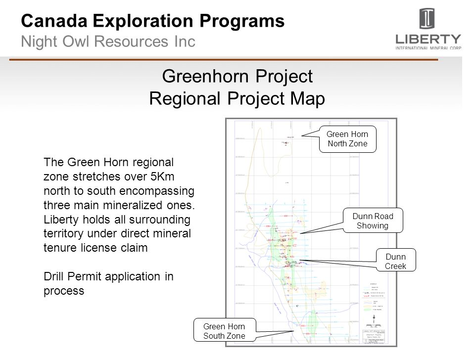 Canada Exploration Programs Night Owl Resources Inc Greenhorn Project Regional Project Map The Green Horn regional zone stretches over 5Km north to south encompassing three main mineralized ones.