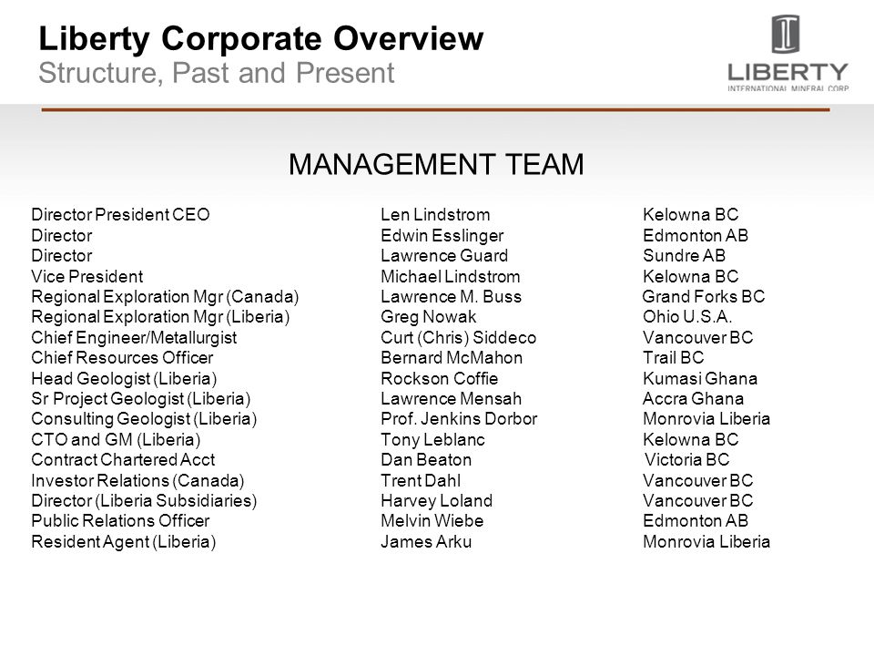 Liberty Corporate Overview Structure, Past and Present MANAGEMENT TEAM Director President CEOLen LindstromKelowna BC DirectorEdwin EsslingerEdmonton A