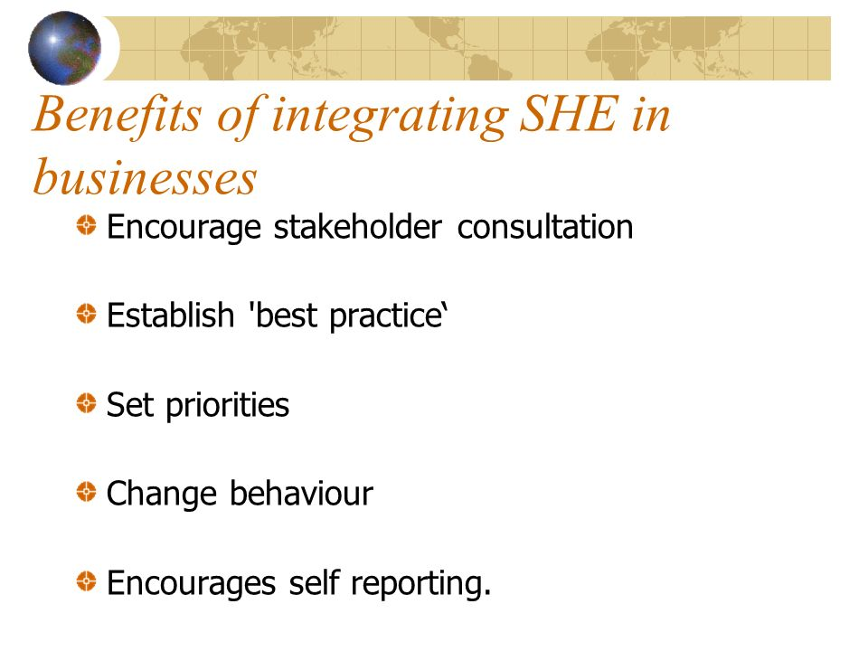 Benefits of integrating SHE in businesses Encourage stakeholder consultation Establish best practice Set priorities Change behaviour Encourages self reporting.