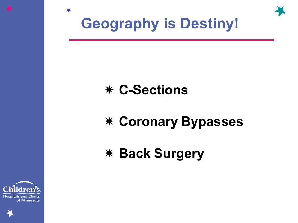 Geography is Destiny! C-Sections Coronary Bypasses Back Surgery